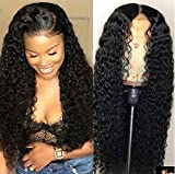 Maxine Curly Lace Front Wigs Human Hair 130% Density Brazilian Virgin Curly Wig with Baby Hair for Black Women Natural Color 18Inch