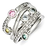 Sterling Silver Multicolored CZ Ring - Size 6
