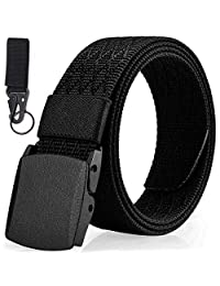 Mens Belt, Non-metal Nylon Belt For Men, Lightweight Adjustable Black Belt, Leisure Sports Use, Include Key Ring (Black-Diamond)