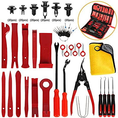 AUTMOR 38Pcs Trim Removal Tool & 120 Pcs Car Retainer Clips, Pry Kit, Car Panel Tool Radio Removal Tool Kit, Auto Clip Pliers Fastener Remover Pry Tool Kit, Car Upholstery Repair Kit with Storage Bag: Automotive