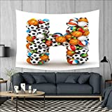 smallbeefly Letter H Wall Hanging Tapestries Letter H Stacked from Gaming Balls Alphabet of Sports Theme Competition Activity Large tablecloths 84''x54'' Multicolor
