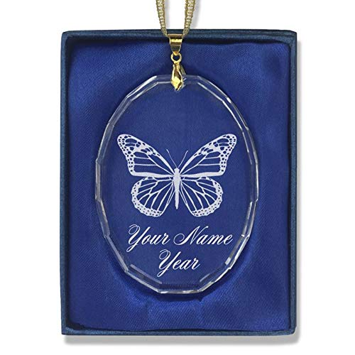 LaserGram Christmas Ornament, Monarch Butterfly, Personalized Engraving Included (Oval Shape) (Ornament Christmas Personalized Oval)