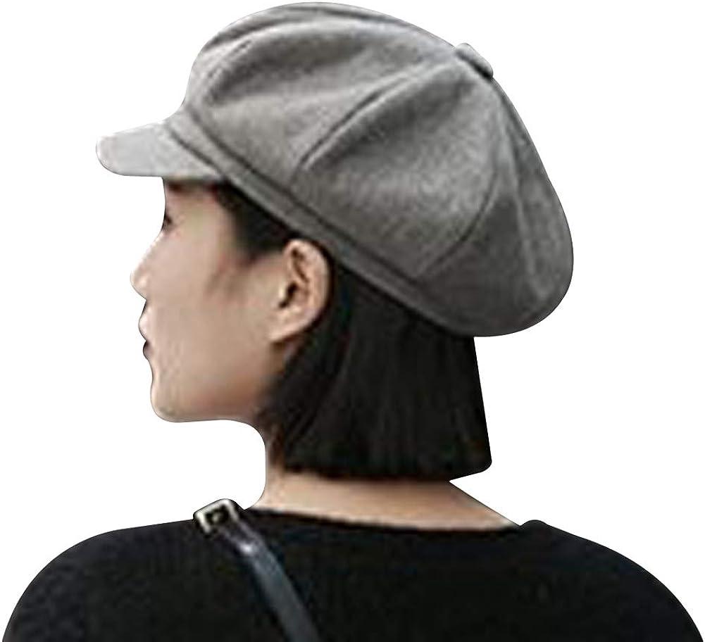 MINAKOLIFE Womens Classic Wool Newsboy Caps Visor 8 Panel Gatsby Apple Cabbie Hat