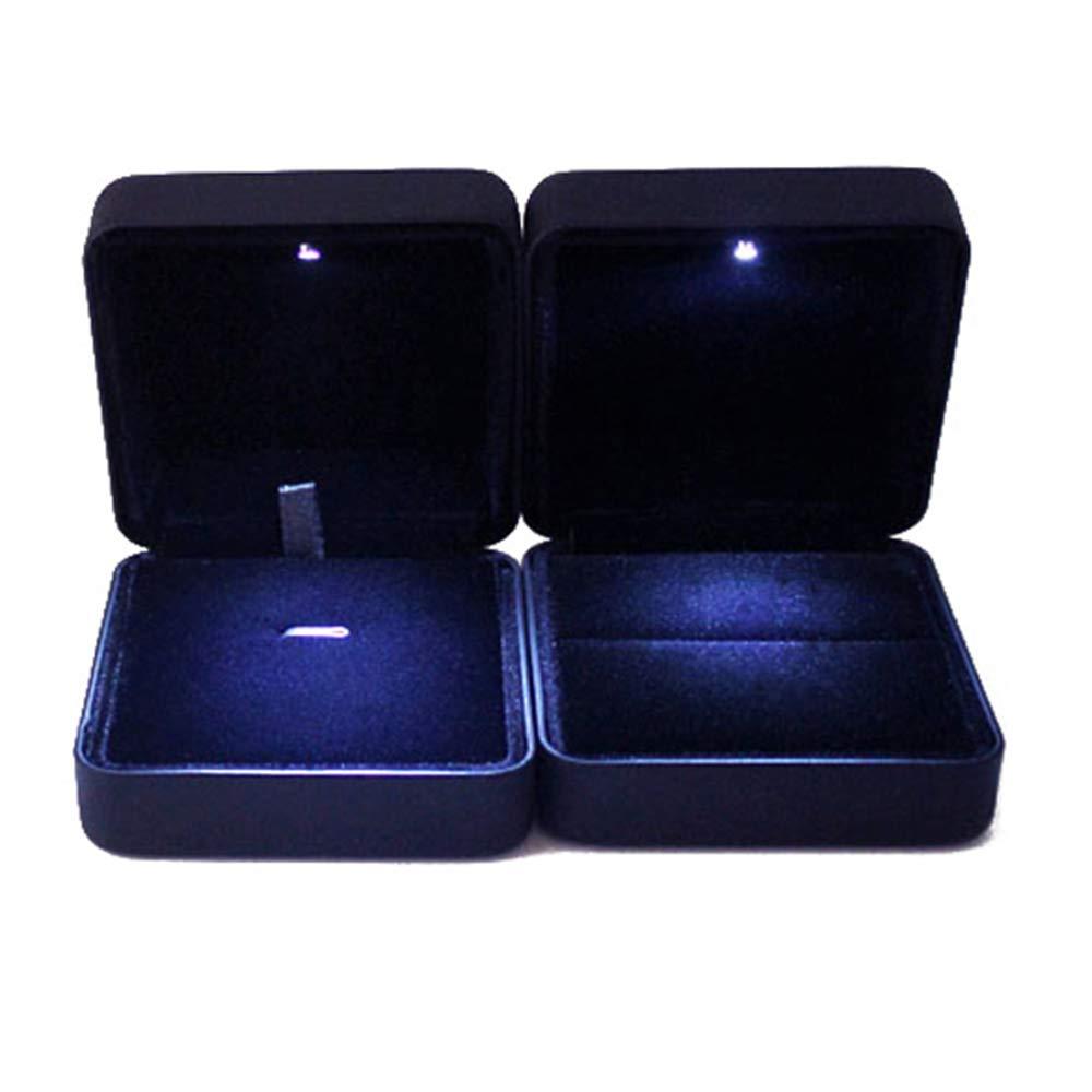 VORCOOL LED luz Ringschachtel Schmuckkästen de anillo Halskette Remolques (negro)