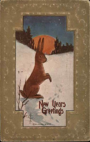 New Year's Greetings Other Animals Original Vintage Postcard from CardCow Vintage Postcards