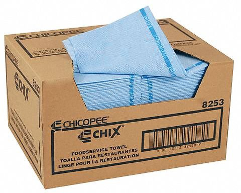 "Chicopee 8253 Chix Medium-Duty Towel with Microban, 13"" Width x 21"" Length, Blue"