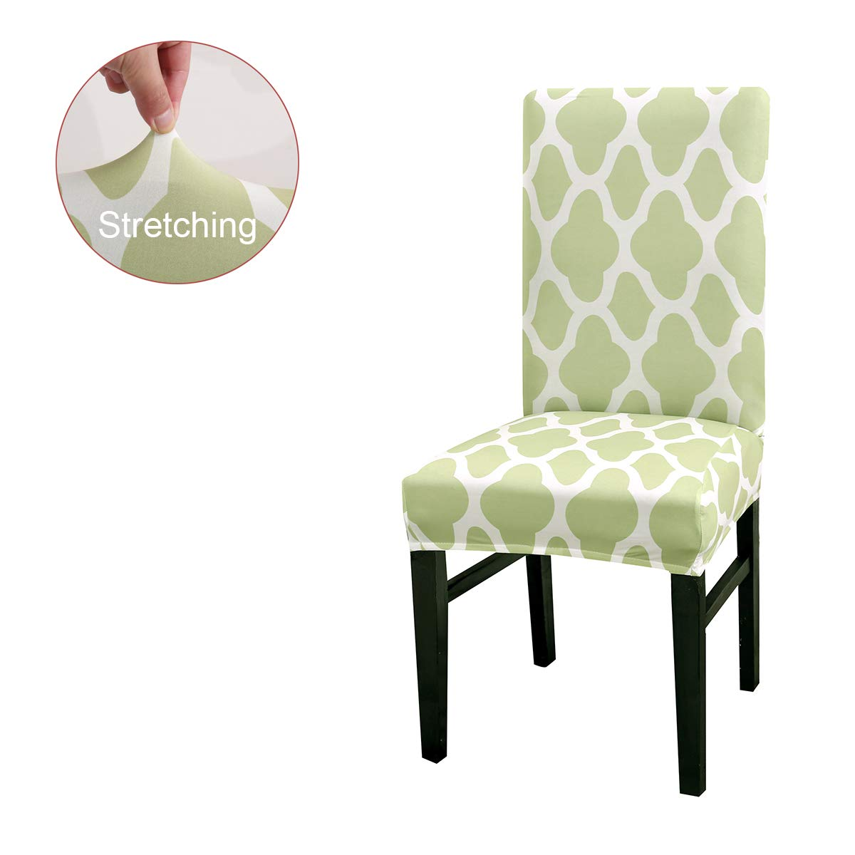 Black,4 Pack Elastic Spandex Dining Chair Covers,Geometric Stripe Stretch Removable Washable Short Dining Chair Protect Slipcover for Kitchen Bar Hotel and Wedding