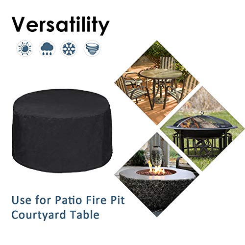 Essort Patio Cover, 600D Oxford UV50+ Round Table Fire Pit Cover with Waterproof Double Needle Sewing-Black