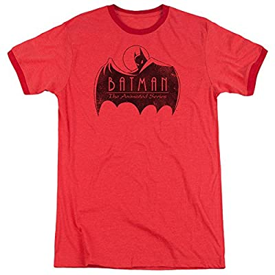 Batman The Animated Series One Color Logo Mens Adult Heather Ringer Shirt Red 3X