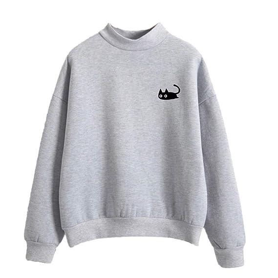 DOGZI Mujer Sudadera Color sólido Gato Imprimir Manga Larga Sudadera Camisa de Entrenamiento Suelto Casual Talla Grande O-Cuello Camiseta Otoño Invierno ...