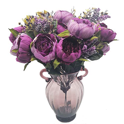 cn-Knight Artificial Flower 19'' Silk Peony Bouquet with 7pcs Blooms Flower Arrangement for Home Décor Housewarming Gift Wedding Bridal&Bridesmaid Office Baby Shower Prom Centerpieces Wreath(Purple)