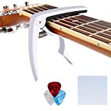 COOCHEER Zinc Alloy Guitar Capo Pin Puller Capo,3 Free Guitar Picks and 1 piece Guitar Wiper for Acoustic, Electric Guitars,Ukulel, Banjo and Mandolin (white)