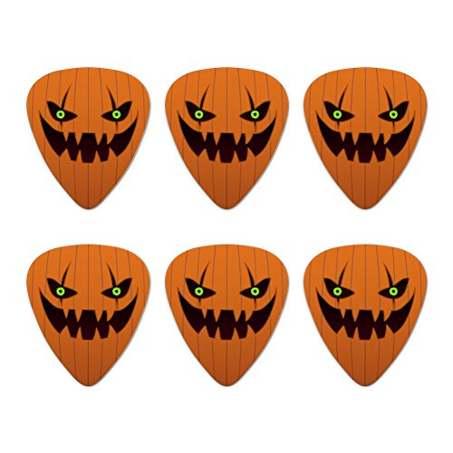 Jack-o'-lantern Pumpkin Face Halloween Decoration Novelty Guitar Picks Medium Gauge - Set of 6