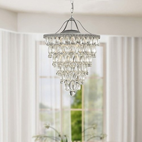 Cone Shape 4-light Matte Silver Crystal Chandelier by The Lighting Store