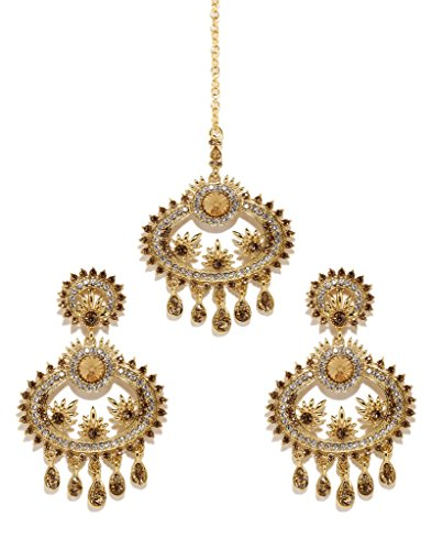 Bindhani Wedding Indian Bollywood Pakistani Style Head Jewelry Maang Tikka Mang Tika Earrings For Women by Bindhani