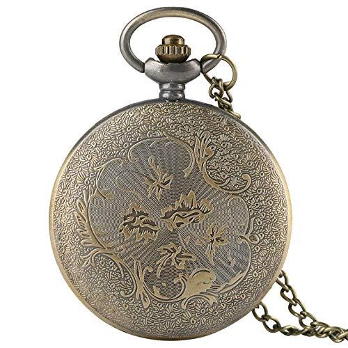 ZJZ Vintage fickur brons kvarts vintage fickur halsband hänge vardagliga klockor män klocka
