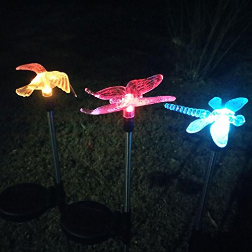 LiPing Yard Stake Fluttering Butterfly/Dragonfly/Bird Outdoor Decorative Solar Power Path Way Wall Landscape Mount Garden Fence (Combination)