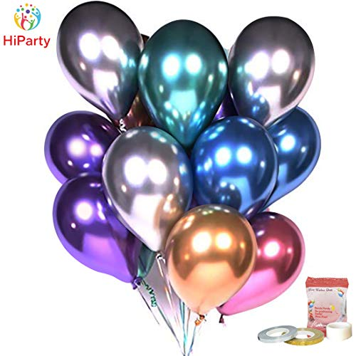 [Metallic Balloons KIT] HiParty Metallic Party Balloons, Premium Thick Chrome Latex Balloons with Party accessories for Wedding Birthday Christmas and almost Party Decorations (Multicolor)