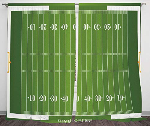 Satin Window Drapes Curtains [ Football,Sports Field in Green Gridiron Yard Competitive Games College Teamwork Superbowl,Green White ] Window Curtain Window Drapes for Living Room Bedroom Dorm Room ()