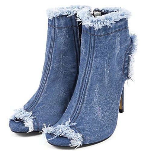 Sandaalit Naisten Peep Tikari Lyhyt Kengät Muoti Denim Taoffen Vaaleansininen Toe Saappaat qgATwZFw