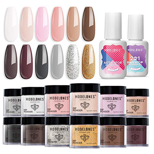 Modelones Dip Powder Nail Kit Starter-12 Nude Colors French Style Dipping Powder with Base Top Coat 2 in 1 Set, Essential Manicure Nail Art System No Lamp Needed