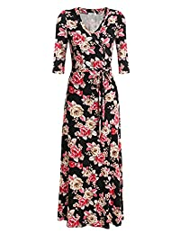 Meaneor Women V Neck Wrap Tie Waist Maxi Dress 3/4 Sleeve Floral Full Long Dress