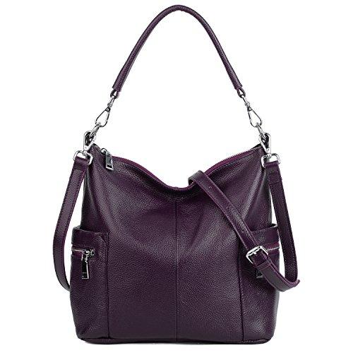 - YALUXE Women's Multi Pocket Soft Cowhide Leather Medium Purse Style Shoulder Bag Purple