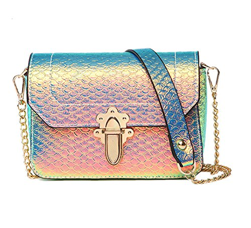 Marchome Women Snakeskin Pattern Pu Leather Hologram Crossbody Handbag Shoulder Bag (Yellow+Green, Large)