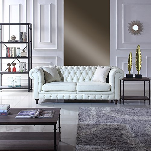 Contemporary Ivory Leather Sofa - Classic Scroll Arm Real Italian Leather Chesterfield Sofa (Ivory)