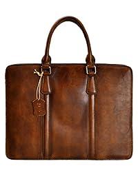 ZLYC Unisex Handmade Dip Dye Leather Classic Briefcase Laptop Messenger Handbag Cross Body Bag, Brown