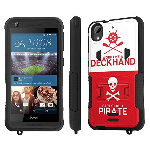 HTC Desire 626 / 626S Case, [NakedShield] [Black/Black] Combat Tough SHOCK PROOF with KICKStand + [Screen Protector] - [Pirate Deckhand] for HTC Desire 626 / ()