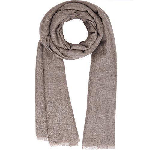 KASHFAB Kashmir Womens Mens Winter Fashion Solid Scarf, Wool Silk Stole, Soft Long Shawl, Warm Pashmina (Merino Scarf)