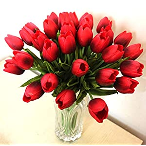 ALIERSA 10-Heads Home Deocr Mini Tulip Real Touch Tulip Artificial Flowers Bouquets (Rose red) 48