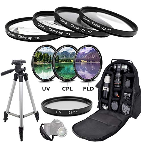 11 Piece 52mm Ultimate Accessory Package for Nikon D3100 D3200 D3300 D3400 D3500 D5100 D5200 D5300 D5500 D5600 Df DSLR Cameras Which Have Any Lens with 52mm Filter Thread