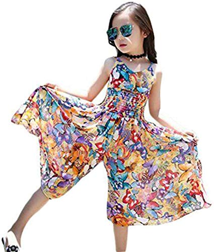 Bohemian Style Kid Girl Summer Chiffon Beach Skirt Pants Jumpsuit Floral Dress,Multicolor,9-10 Years -