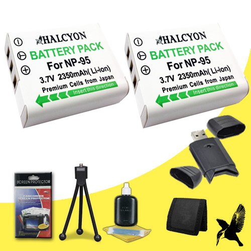 Two Halcyon 2350 mAH Lithium Ion Replacement NP-95 Battery + Memory Card Wallet + SDHC Card USB Reader + Deluxe Starter Kit for Fujifilm X100S, X100, X-S1, FinePix Real 3D W1 Digital Cameras and Fujifilm NP-95 by Halcyon