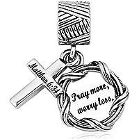 LilyJewelry Bible Dangle Charm Christian Keep Faith Cross Beads for Bracelets