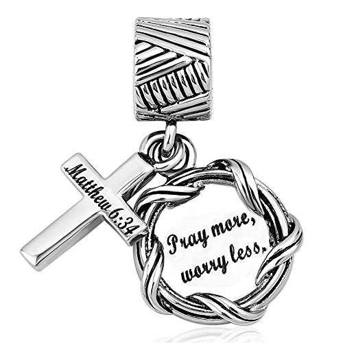 Lifequeen Cross Charm Religious Christian Holy Bible Heart Charms Bead for European Bracelets (Pray More Worry Less)
