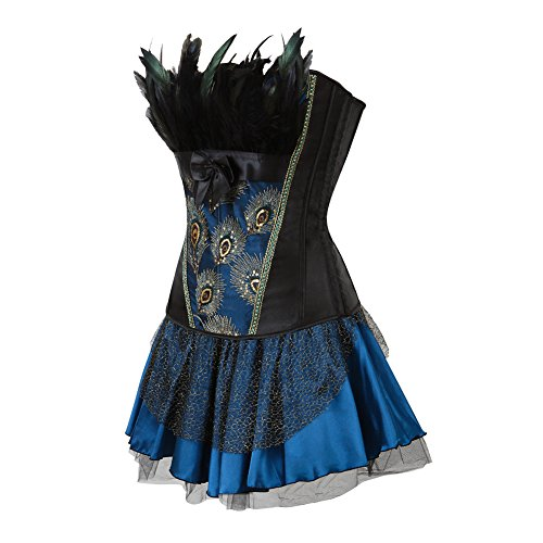Grebrafan Women's Princess Peacock Feather Satin Corset with Skirt Fancy Dress Clubwear Azul