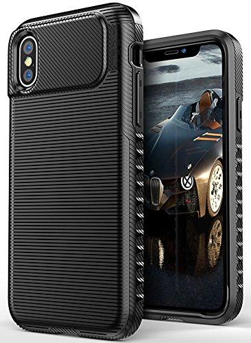 iPhone X Case, ELV iPhone X Slim Premium Impact Resistant Armor Protective Hybrid Case Cover for Apple iPhone X / iPhone 10 (BLACK)
