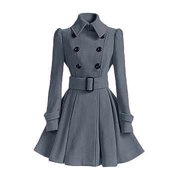 Manteau de jupe à double boutonnage avec boucle de ceinture Rabat de manteau  à manches longues e4a87916ec2