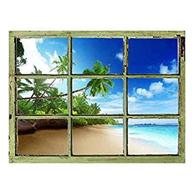 Handsome Piece of Art, Window View Wall Mural Tropical Beach with Palm Trees Vintage Style Wall Decor Peel and Stick Adhesive Vinyl Material, Created Just For You