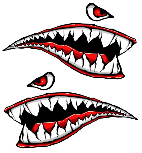 Side Gas Tank Fighter Teeth 3d Gel Motorcycle Gas Tankpad Motorcycle Decal Sticker ()