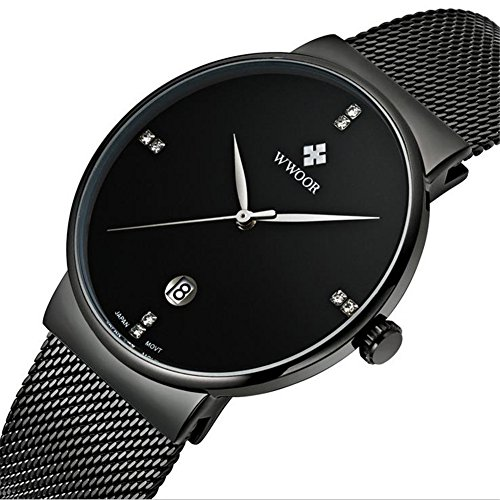 WWOOR Men's Quartz Watches 30M Waterproof Stainless Steel Mesh Band for Business (Black Belt Watch)