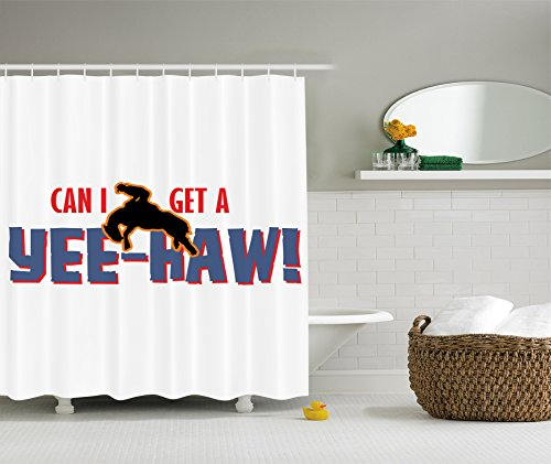 Western Decor Shower Curtain by Ambesonne, American Rodeo Quotes Yee-Haw Pattern with Racing Cowboy on Horse Picture, Polyester Fabric Bathroom Set with Hooks, 69 X 70 Inches, Scarlet and Soft Blue ()