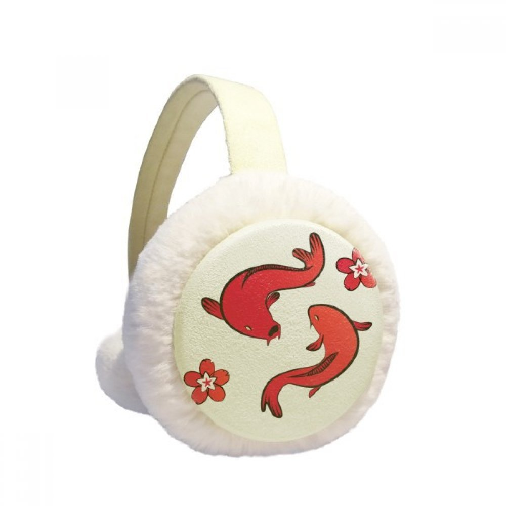 Red Fish Japan Chinese Lucky Winter Earmuffs Ear Warmers Faux Fur Foldable Plush Outdoor Gift