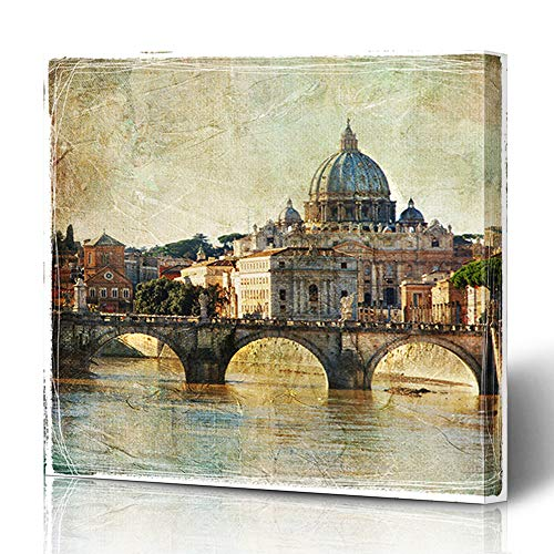 Wall Cityscape Bracket (Ahawoso Canvas Prints Wall Art 12x16 Inches Jesus Italian San Pietro Basilica Rome Retro Styled Attraction Vintage Travel Holiday Italy Cityscape Decor for Living Room Office Bedroom)