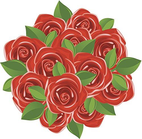 Dozen Red Rose Flower Bouquet Cartoon Icon Vinyl Decal Sticker (12