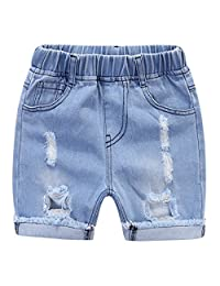 MMWORM Baby Short Jeans Pants Ripped Denim Jeans Short Pants Summer Short Trousers