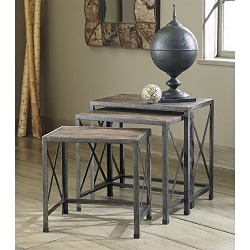 [Ashley Furniture Signature Design - Vennilux Nesting End Tables - 3 Piece Table Set - Gray Brown Finish] (Collection 3 Piece Nesting Table)